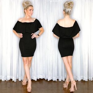 Black Off Shoulder Date Night Dress